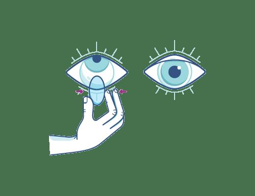 Apretando suavemente la lente para quitar la lente de contacto