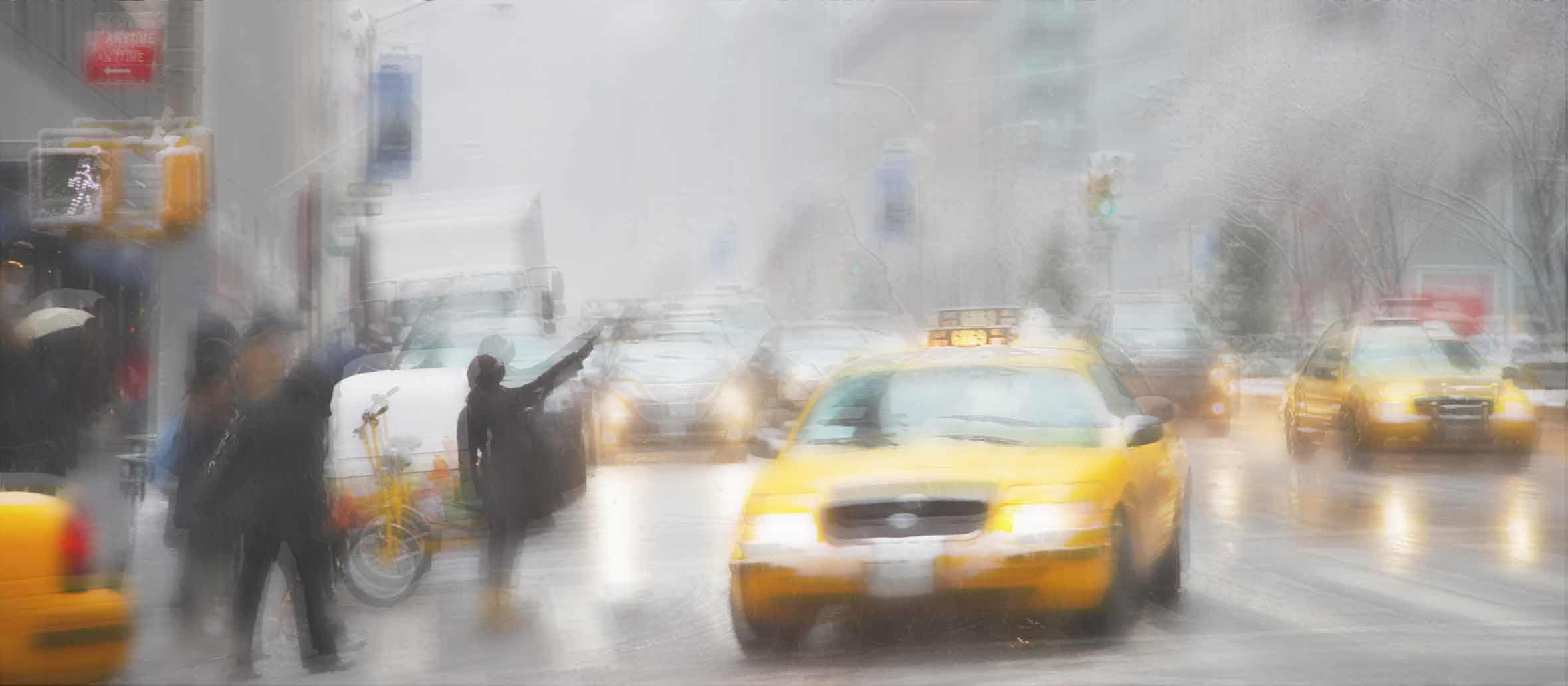 Un día lluvioso y ocupado en la ciudad